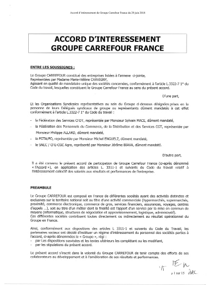Accord D Interessement Groupe France Cfdt Coordination Carrefour